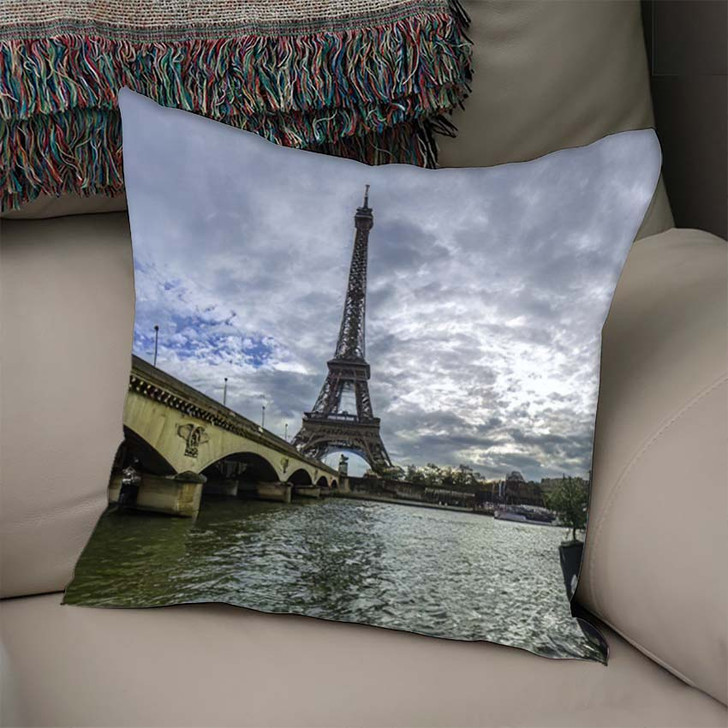 18 Mpx Panoramic View Eiffel Tower - Landmarks and Monuments Linen Pillow For Sale