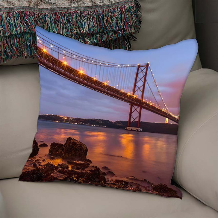 25 De Abril Bridge Over Tagus 1 - Landmarks and Monuments Linen Pillow For Sale