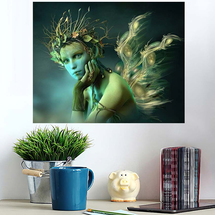 3D Computer Graphics Fairy Wings Wreath - Fantasy Poster Art Wall Decor
