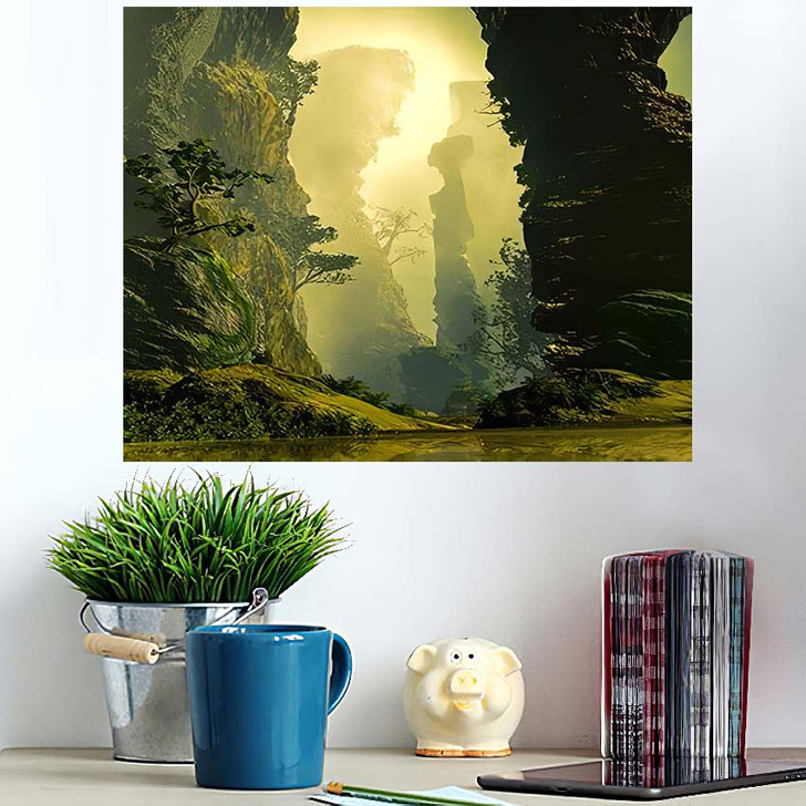 3D Illustration Landscape Where One Observes 1 1 - Fantasy Poster Art Wall Decor