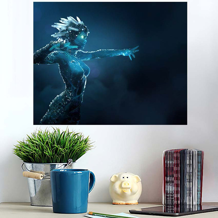 3D Illustration Render Stone Girl Glowing - Fantasy Poster Art Wall Decor