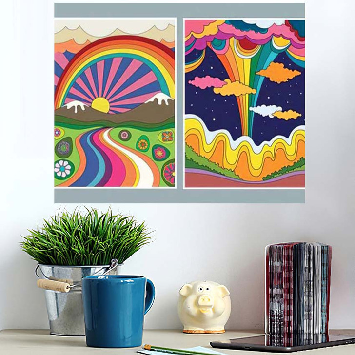 1960S 1970S Art Style Colorful Psychedelic - Psychedelic Poster Art Wall Decor