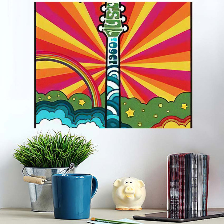 1960S Psychedelic Poster Vintage Colors Electric - Psychedelic Poster Art Wall Decor