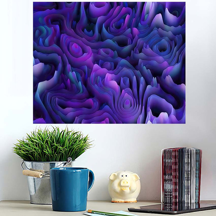 3D Abstract Seamless Pattern Organic Gradient - Psychedelic Poster Art Wall Decor