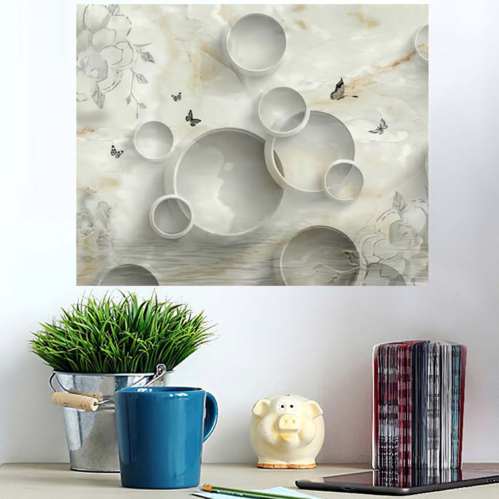 3D Marble Circle Illustration Background Rendering - Abstract Art Poster Art Wall Decor