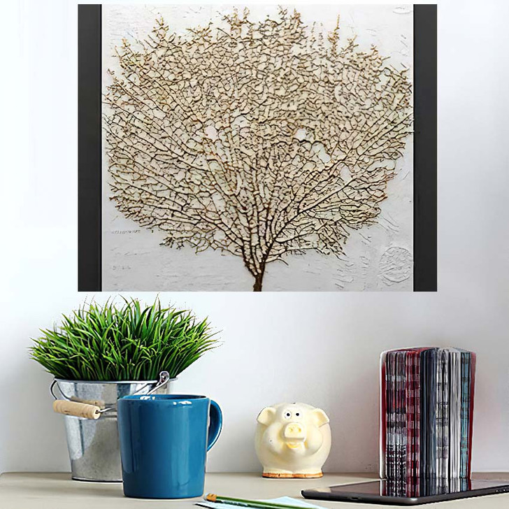 3D Render Picture Gold Coral - Abstract Art Poster Art Wall Decor