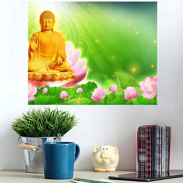 3D Illustration Buddha Sat Lotus Flower 1 - Buddha Religion Poster Art Wall Decor