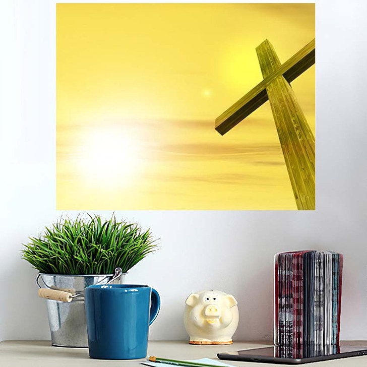 3D Illustration Conceptual Wood Cross Religion - Christian Poster Art Wall Decor