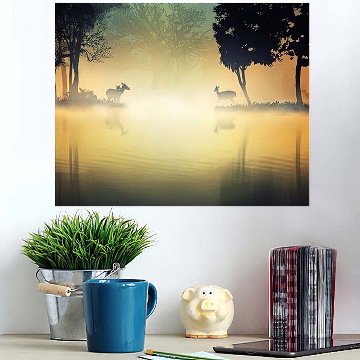 3D Illustration Deers Fantasy Forest Lakeside - Deer Animals Poster Art Wall Decor
