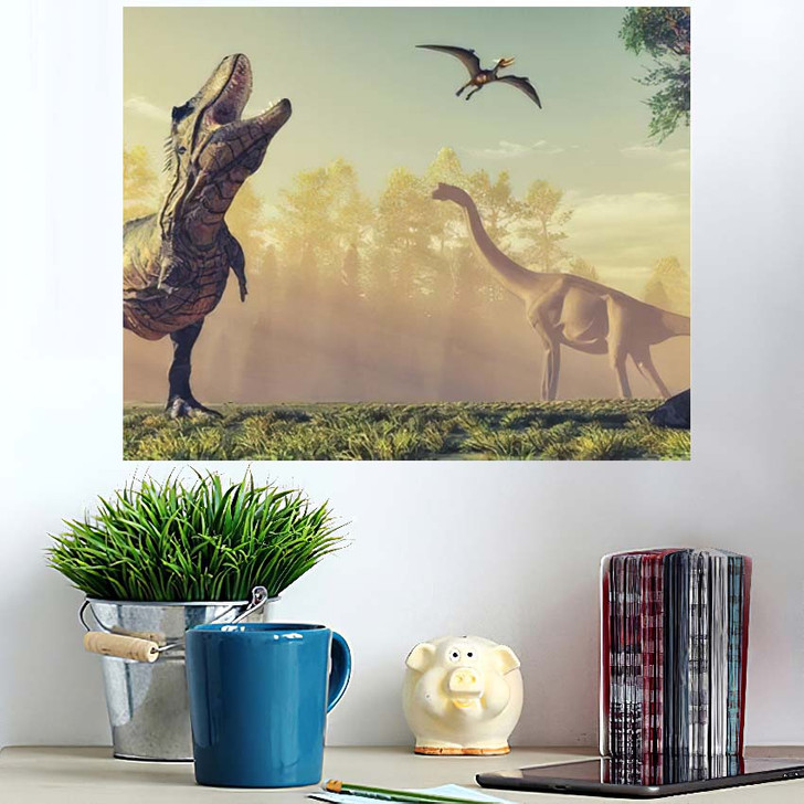 3D Render Dinosaur This Illustration - Dinosaur Animals Poster Art Wall Decor