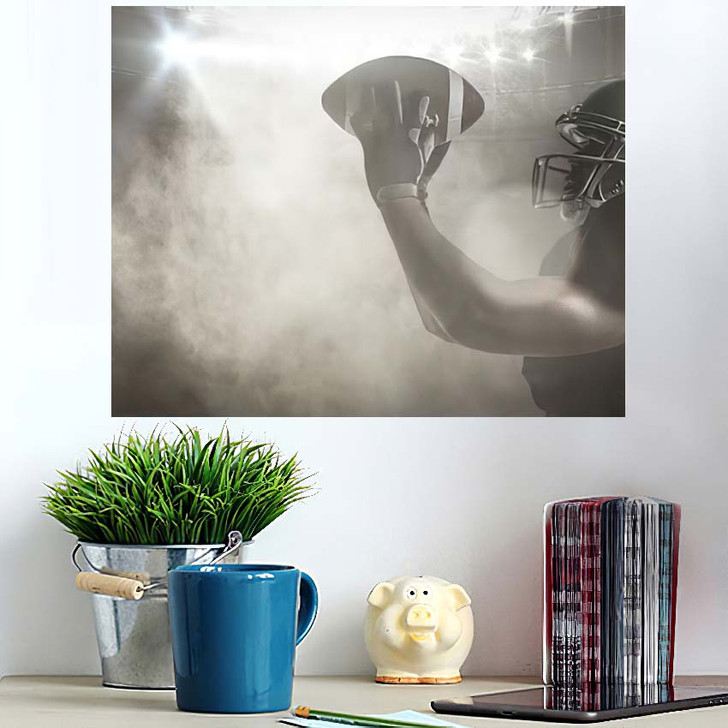 3D American Football Player Catching Ball - Football Poster Art Wall Decor