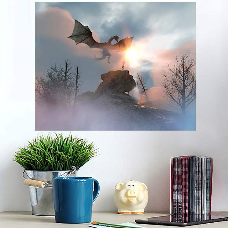 3D Illustration Knight Fighting Dragon Versus - Dragon Animals Poster Art Wall Decor