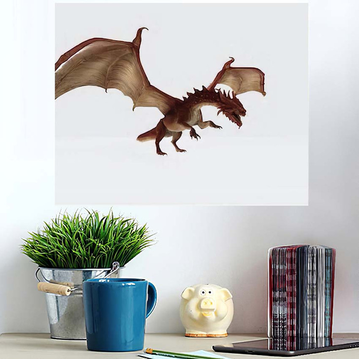 3D Illustration Red Dragon Rendering Fairy - Dragon Animals Poster Art Wall Decor