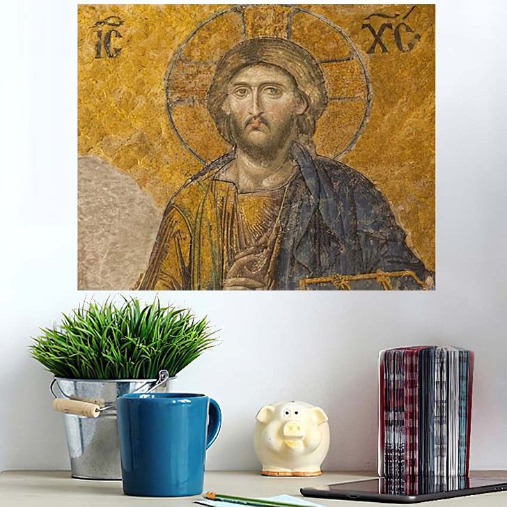 13Th Century Mosaic Jesus Christ Hagia - Jesus Christian Poster Art Wall Decor
