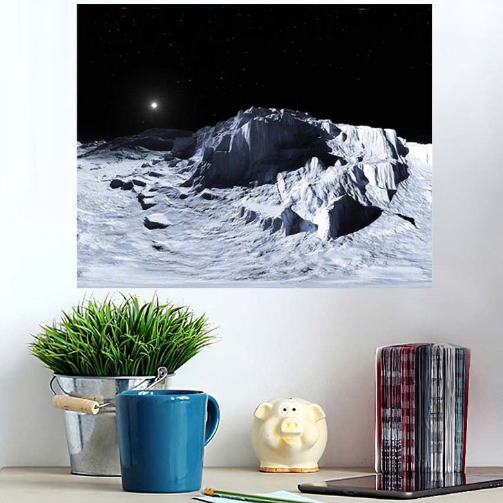 360 Degree View Earths Moon Equirectangular - Sky and Space Poster Art Wall Decor