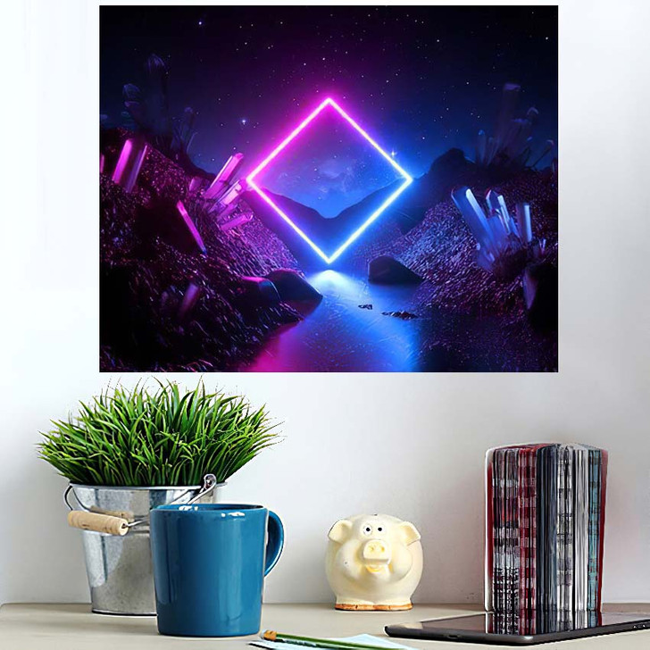 3D Render Abstract Neon Background Mystical - Sky and Space Poster Art Wall Decor