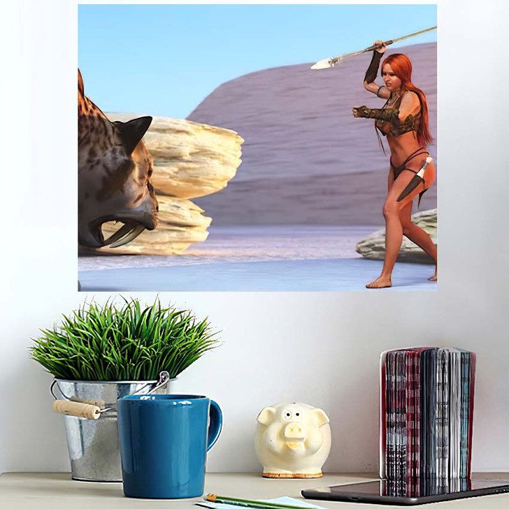 3D Illustration Fantasy Cave Girl Armed - Hunting and Fishing Poster Art Wall Decor
