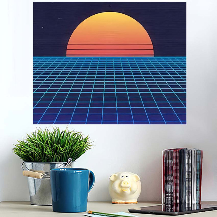 1980S Retro Futuristic Background Sunset Laser - Galaxy Sky and Space Poster Art Wall Decor
