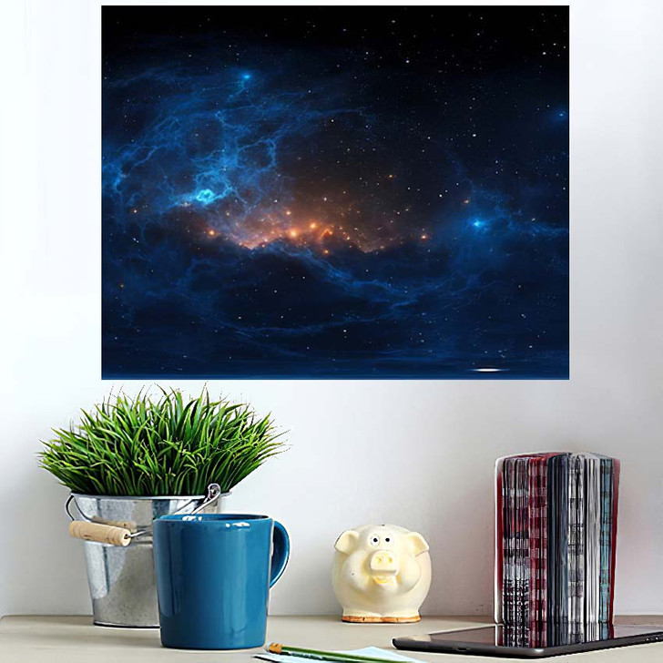 360 Degree Stellar System Nebula Panorama - Galaxy Sky and Space Poster Art Wall Decor