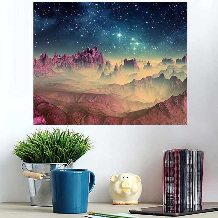3D Created Rendered Fantasy Alien Planet 1 - Galaxy Sky and Space Poster Art Wall Decor