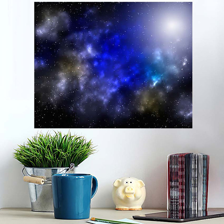 3D Illustration Planets Galaxy Science Fiction 1 - Galaxy Sky and Space Poster Art Wall Decor