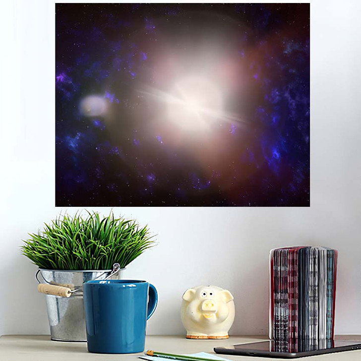 3D Illustration Planets Galaxy Science Fiction 4 - Galaxy Sky and Space Poster Art Wall Decor