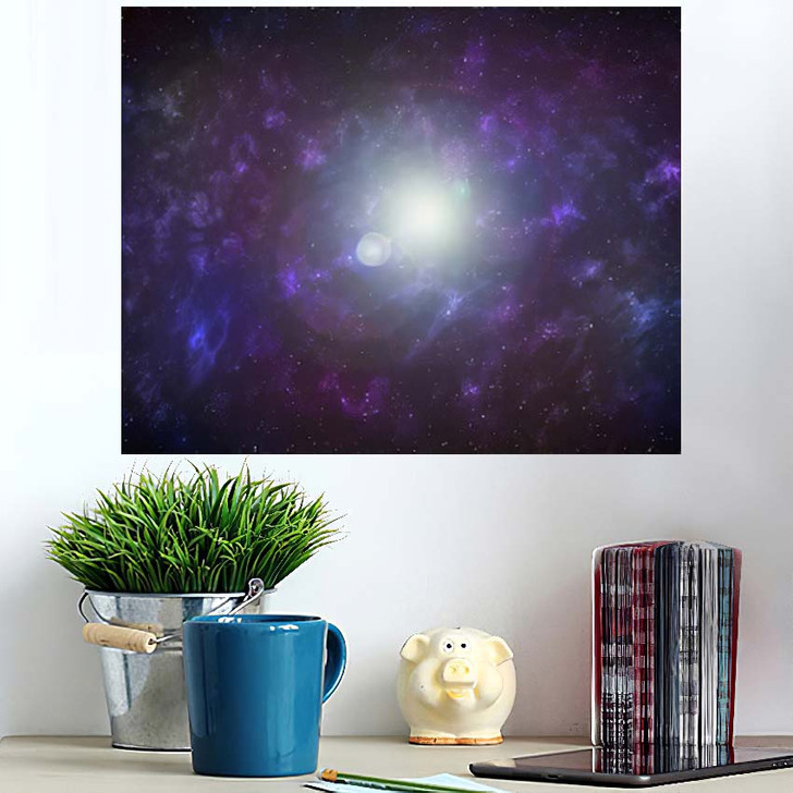 3D Illustration Planets Galaxy Science Fiction 5 - Galaxy Sky and Space Poster Art Wall Decor