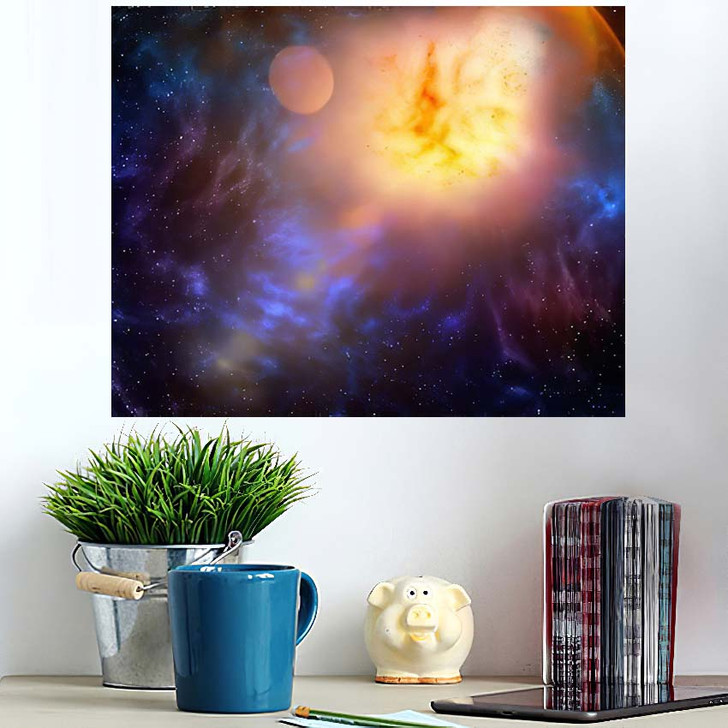 3D Illustration Planets Galaxy Science Fiction 6 - Galaxy Sky and Space Poster Art Wall Decor