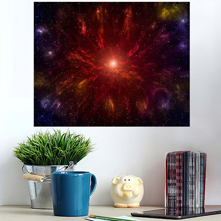 3D Illustration Planets Galaxy Science Fiction 9 - Galaxy Sky and Space Poster Art Wall Decor