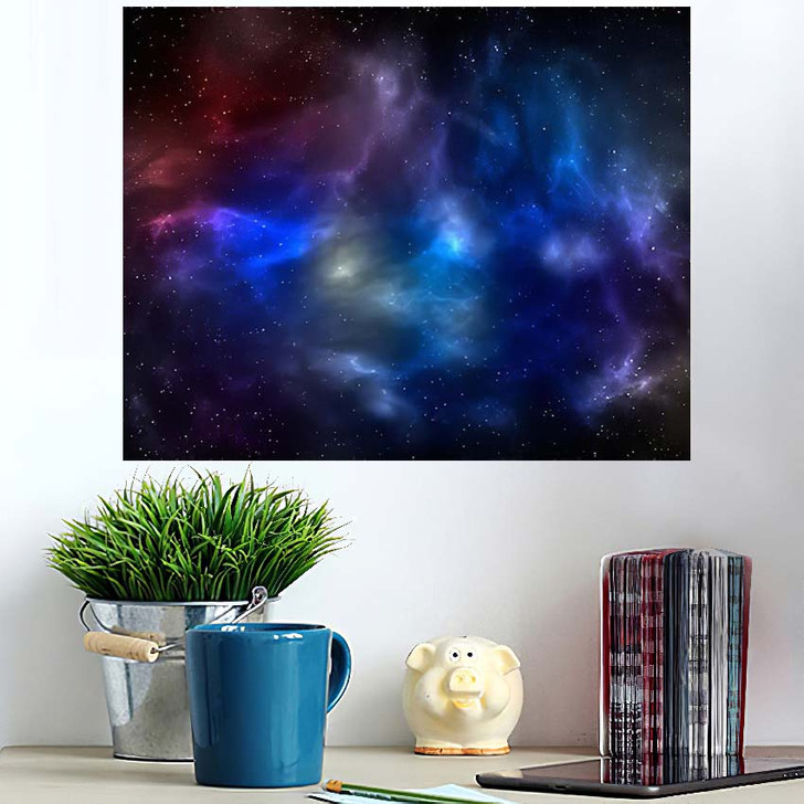 3D Illustration Planets Galaxy Science Fiction 13 - Galaxy Sky and Space Poster Art Wall Decor