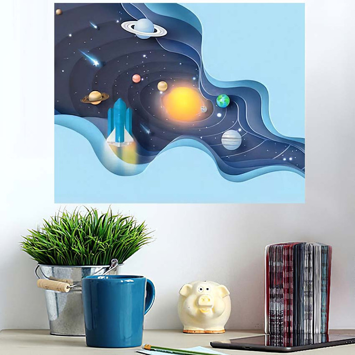 3D Paper Art Abstract Curve Wave - Galaxy Sky and Space Poster Art Wall Decor