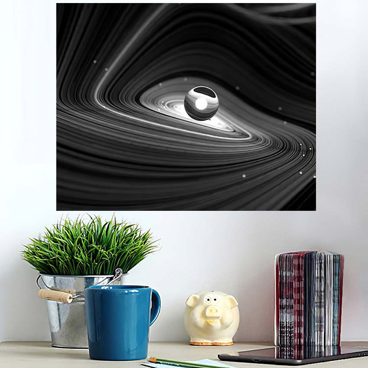 3D Render Black White Abstract Art - Galaxy Sky and Space Poster Art Wall Decor