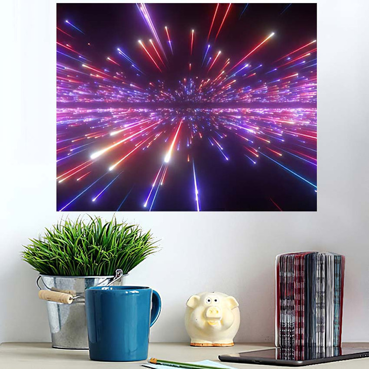 3D Render Red Blue Fireworks Abstract - Galaxy Sky and Space Poster Art Wall Decor