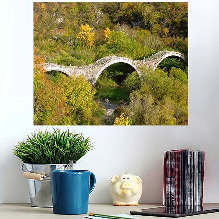 3 Arched Stone Bridge Known Kalogeriko - Landmarks and Monuments Poster Art Wall Decor