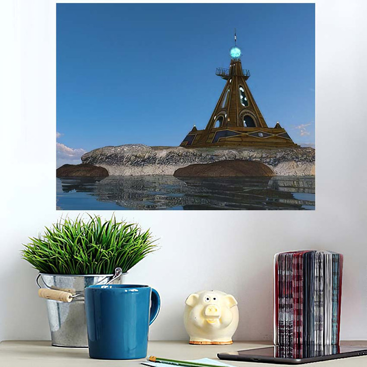 3D Cg Rendering Lighthouse - Landmarks and Monuments Poster Art Wall Decor