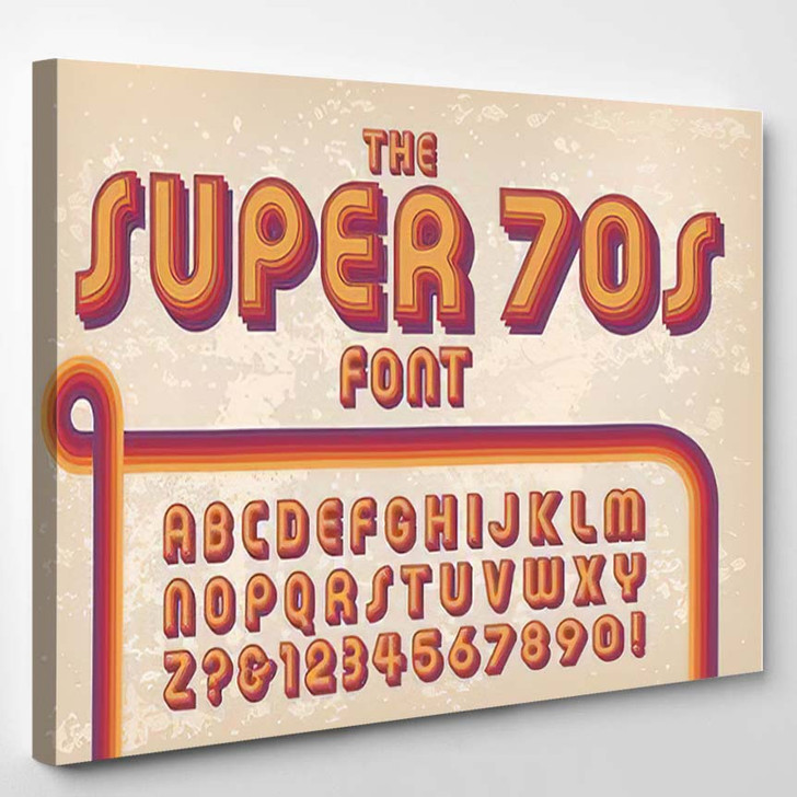 1970S Styled Retro Alphabet Against Grunge - Hippies Canvas Wall Art