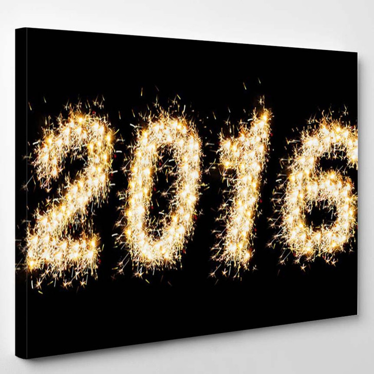 2016 Made Sparkles Front Black Background - Canvas Wall Art