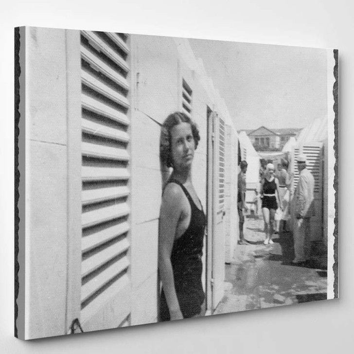 1934 Young Woman Swimsuit - Canvas Wall Art