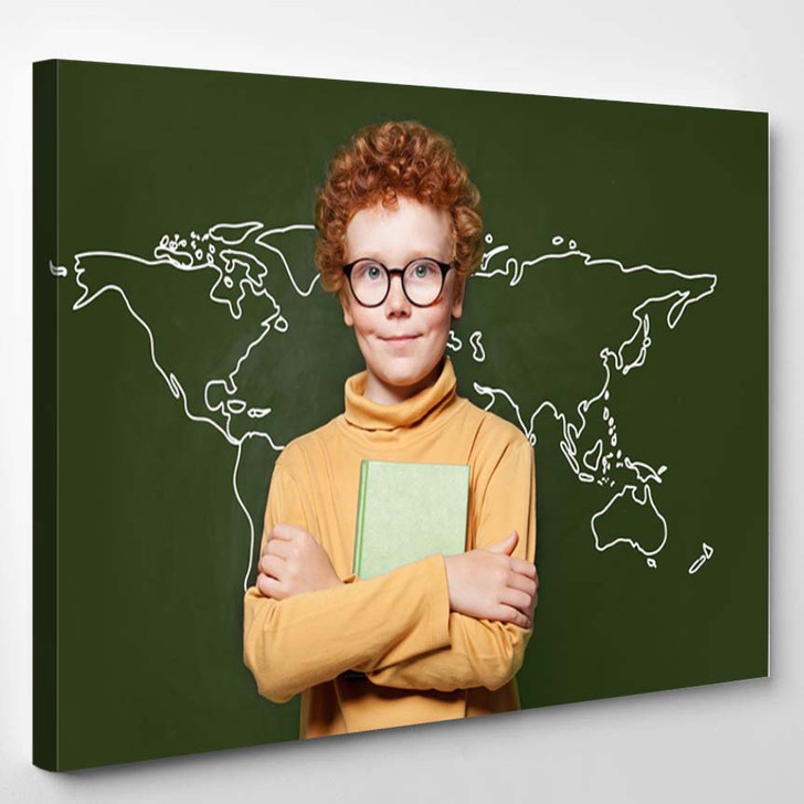 Smart Child Boy Map Earth On - Canvas Wall Art