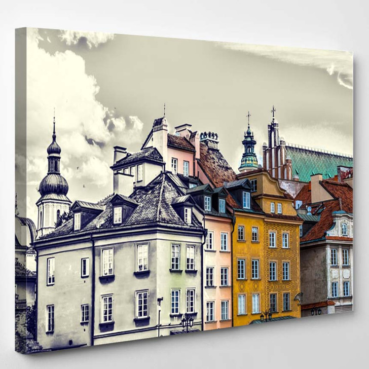 Colorful Houses Old Town Warsaw Castle - Canvas Wall Art