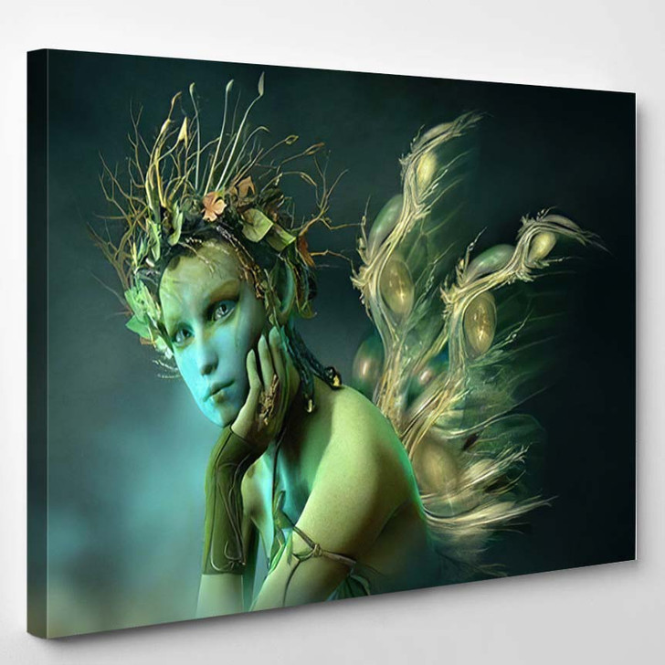 3D Computer Graphics Fairy Wings Wreath - Fantasy Canvas Wall Art