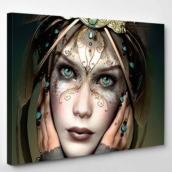 3D Computer Graphics Portrait Girl Headgear - Fantasy Canvas Wall Art