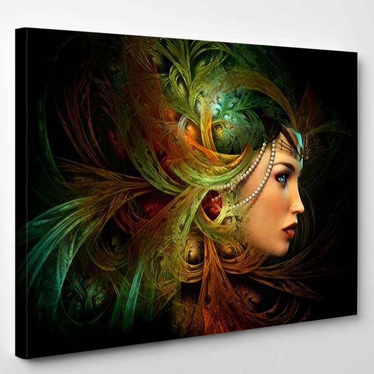 3D Computer Graphics Portrait Lady Abstract - Fantasy Canvas Wall Art