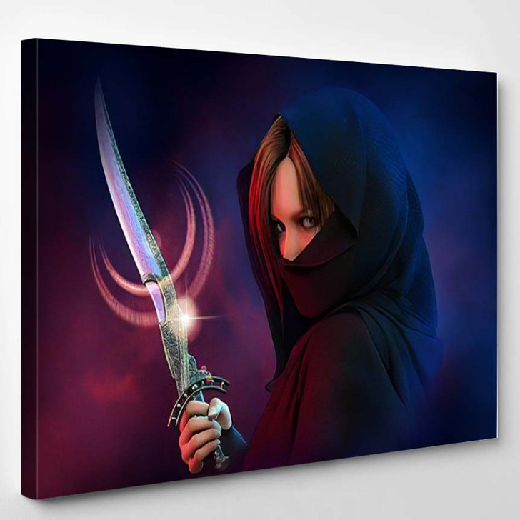 3D Computer Graphics Wrapped Female Assassin - Fantasy Canvas Wall Art