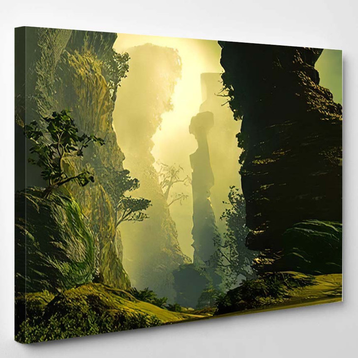 3D Illustration Landscape Where One Observes 1 1 - Fantasy Canvas Wall Art