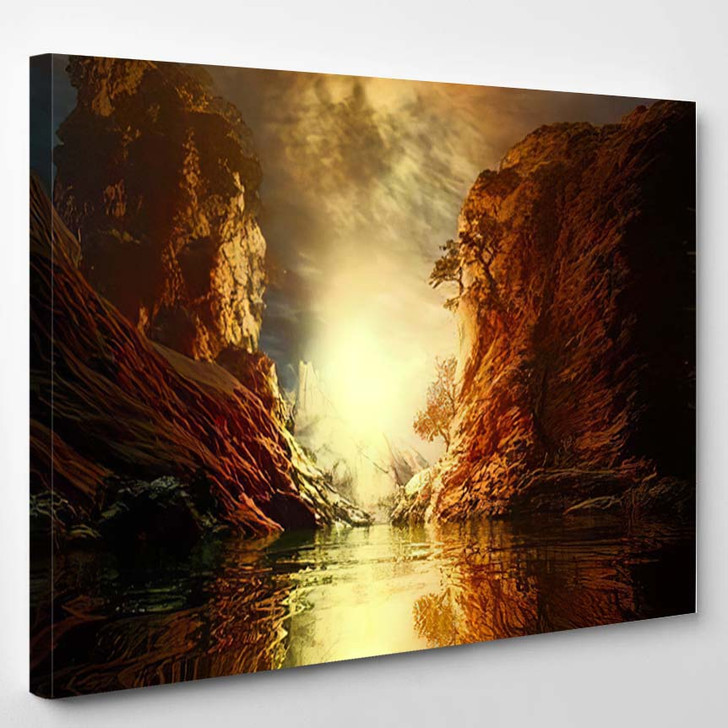 3D Landscape Illustration Where Observed Two 1 - Fantasy Canvas Wall Art