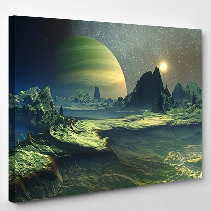 3D Rendered Fantasy Alien Landscape Illustration - Fantasy Canvas Wall Art
