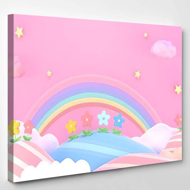 3D Rendering Picture Sweet Cartoon Mountains - Fantasy Canvas Wall Art