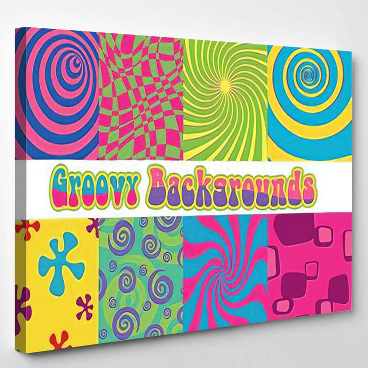 1960S Psychedelic Backgrounds Bright Colors Vintage - Psychedelic Canvas Wall Art