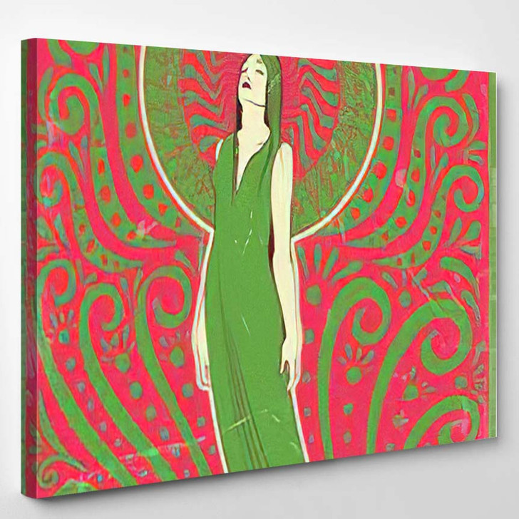 1970S Style Psychedelic Art Woman Love - Psychedelic Canvas Wall Art